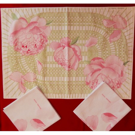 Set de table et 2 serviettes Hermès Pivoines