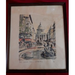 "Litho aquarellée "" Paris -..."