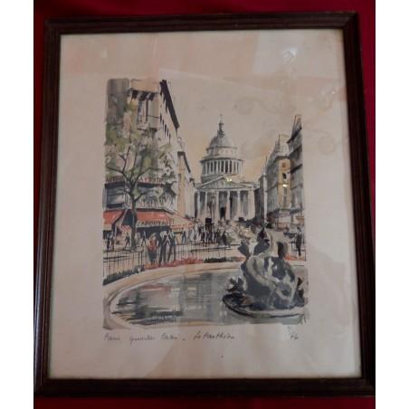"""Litho aquarellée """" Paris - Quartier latin - Le Panthéon """" Frantz Herbelot signée, numérotée"""