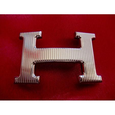 Boucles de ceinture Hermès H striée palladiée