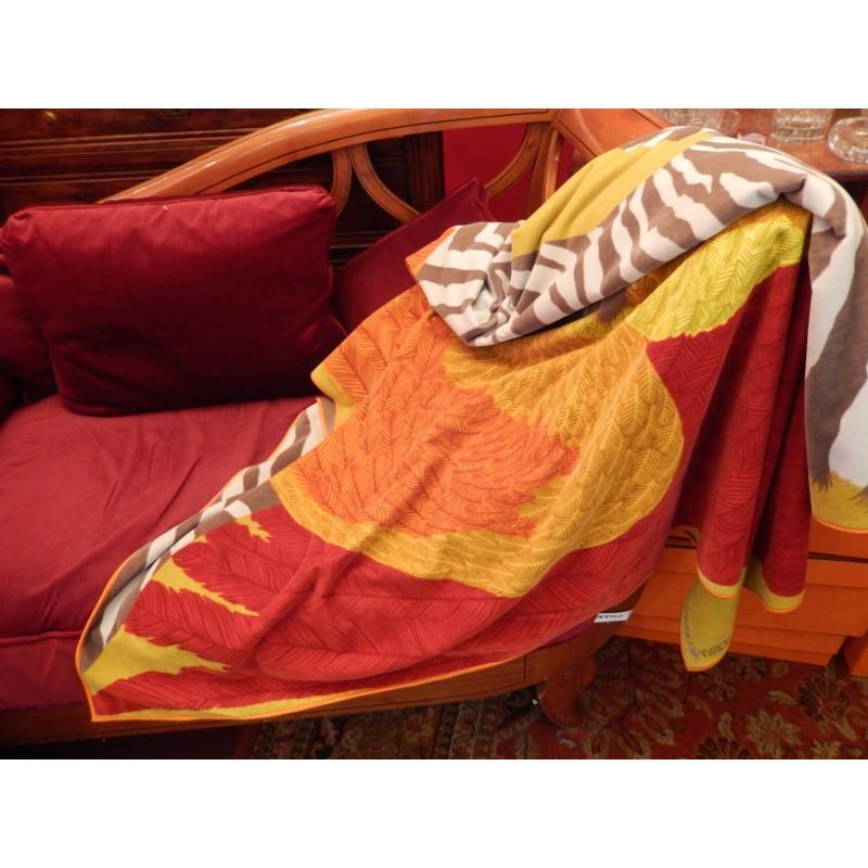 Plaid, jeté de canapé Hermès Zebra Pegasus