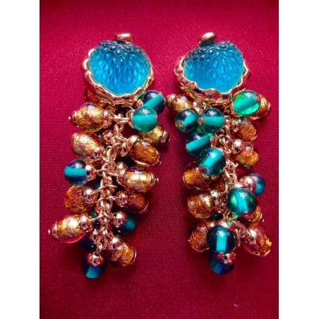 Boucles d'oreilles de créateur turquoise et or