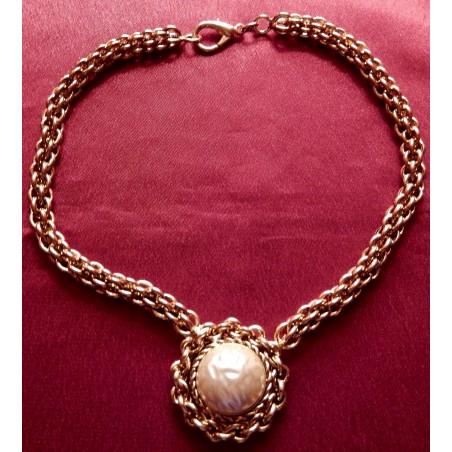 """Collier ras de cou ateliers Chanel """"Perle et chaine"""""""