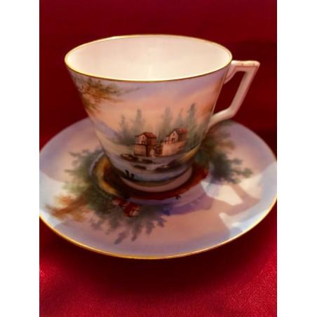 Tasse à café et soucoupe Limoges Charles Field Havilland 19°