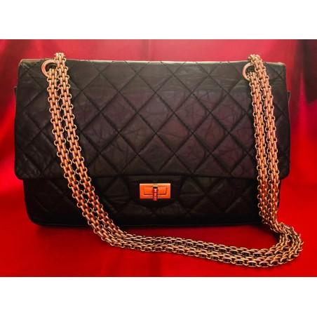 Sac Chanel 2.55 classique cuir vieilli noir