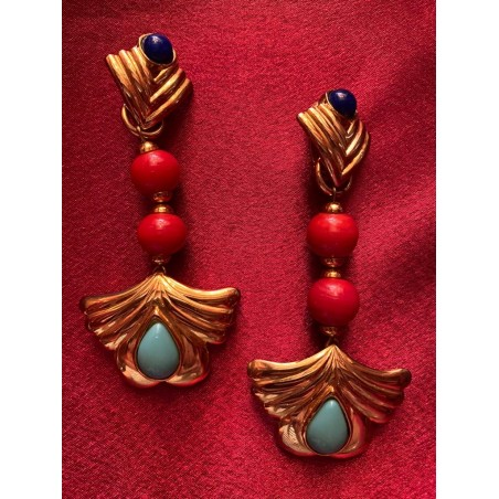 """Boucles d'oreilles Yves Saint Laurent """"Perles de corail et turquoises"""""""