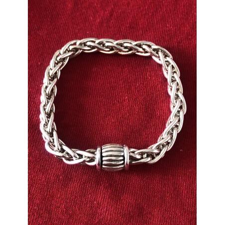 Bracelet Hermès vintage maille palmier argent