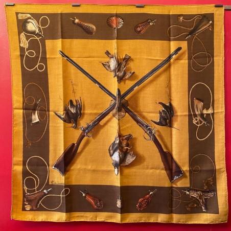 Carré foulard Hermès Les fusils cachemire et soie