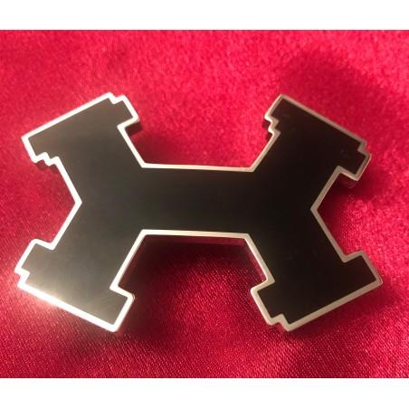 Boucle de ceinture Hermès Street H acier palladié et noir